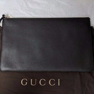 GUCCI LARGE BLACK LEATHER BAMBOO TASSEL POUCH